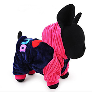 cheap Dog Clothes-Dogs Cats Jumpsuit Winter Dog Clothes Blue Pink Costume Bichon Frise Pomeranian Cotton Heart Quotes & Sayings Stylish Ordinary S M L