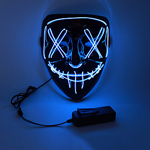 cheap Doorbell Systems-Halloween Mask Adults' Men's LED Light Up Halloween Festival / Holiday PVC(PolyVinyl Chloride) LED White / Yellow / Red Men's Women's Easy Carnival Costumes