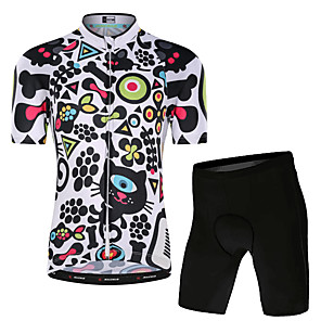 cheap Cycling Jersey & Shorts / Pants Sets-Malciklo Boys' Girls' Short Sleeve Cycling Jersey with Shorts - Kid's Lycra White Floral Botanical Bike Clothing Suit UV Resistant Breathable Quick Dry Moisture Wicking Reflective Strips Sports