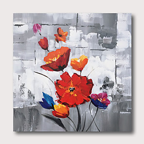 cheap Abstract Paintings-Hand painted Stretched Oil Painting Canvas Ready To Hang Abstract Style Red Roses Flowres