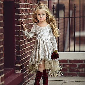 cheap Baby Girls'  Dresses-Baby Girls' Active / Street chic Solid Colored Lace Long Sleeve Asymmetrical Cotton Dress Beige / Toddler