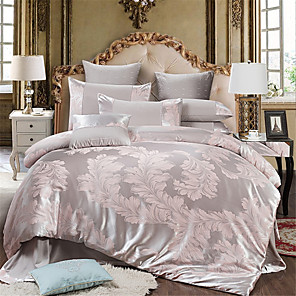 cheap Duvet Cover Sets-Duvet Cover Sets Solid Colored / Luxury Cotton Jacquard 4 PieceBedding Sets