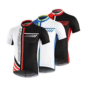cheap Cycling Jerseys-BERGRISAR Men's Short Sleeve Cycling Jersey Black / Red Blue / White Black / White Stripes Bike Jersey Top Mountain Bike MTB Road Bike Cycling Breathable Quick Dry Reflective Strips Sports Clothing
