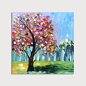 cheap Floral/Botanical Paintings-Oil Painting Hand Painted - Landscape Floral / Botanical Modern Stretched Canvas