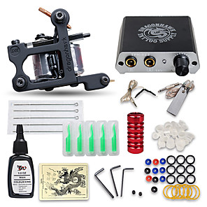 cheap Starter Tattoo Kits-DRAGONHAWK Tattoo Machine Starter Kit - 1 pcs Tattoo Machines with 1 x 15 ml tattoo inks, Professional, Kits, Easy to Install Alloy Mini power supply Case Not Included 1 cast iron machine liner