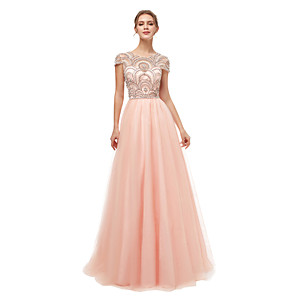 cheap Abstract Paintings-A-Line Luxurious Sparkle Engagement Formal Evening Dress Illusion Neck Short Sleeve Floor Length Tulle with Beading 2020