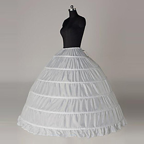 cheap Wedding Slips-Bride Classic Lolita 1950s Dress Petticoat Hoop Skirt Crinoline Women's Girls' Cotton Costume White Vintage Cosplay Party Performance Princess