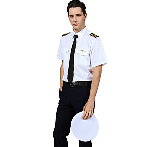 cheap Movie & TV Theme Costumes-Captain America Pilot Adults' Men's Cosplay Costume Outfits For Cotton Masquerade Shirt Pants