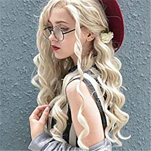 cheap Synthetic Trendy Wigs-Synthetic Lace Front Wig Curly Spiral Curl Jenner Free Part Lace Front Wig Blonde Long Blonde Synthetic Hair 24 inch Women's Synthetic Easy dressing New Arrival Blonde