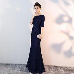 cheap Party Sashes-Mermaid / Trumpet Bateau Neck Floor Length Satin Bridesmaid Dress with Ruching