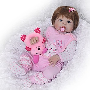 cheap Reborn Doll-FeelWind 22 inch Reborn Doll Baby Girl Reborn Baby Doll Kids / Teen Full Body Silicone with Clothes and Accessories for Girls' Birthday and Festival Gifts