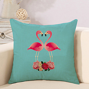 cheap Pillow Covers-1 pcs Cotton / Linen Pillow Cover Pillow Case, Flamingo Animal Fashion Nature Inspired Tropical