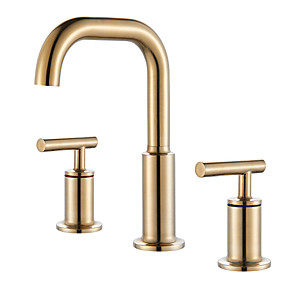 cheap Bathroom Sink Faucets-Bathroom Sink Faucet - Widespread Chrome / Oil-rubbed Bronze / Gold Widespread Two Handles Three HolesBath Taps