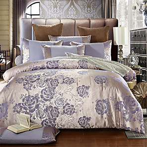 cheap Solid Duvet Covers-Duvet Cover Sets Solid Colored / Luxury Cotton Jacquard 4 PieceBedding Sets