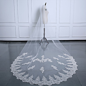 cheap Wedding Veils-One-tier Luxury / Flower Style Wedding Veil Cathedral Veils with Appliques 137.8 in (350cm) Tulle / Oval