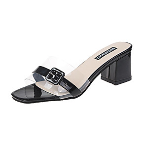 cheap Women's Sandals-Women's Sandals Clear / Transparent / PVC Chunky Heel Open Toe Daily PU Summer White / Black / Beige