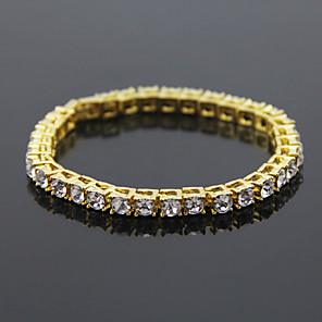 cheap Men's Bracelets-Men's Crystal Bracelet Crystal Bracelet Tennis Chain Precious Simple European Fashion Alloy Bracelet Jewelry Black / Gold / Silver For Daily Street Holiday Work Festival