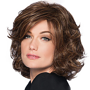 cheap Synthetic Trendy Wigs-Synthetic Wig Bangs Curly Side Part Wig Medium Length Brown / Burgundy Synthetic Hair 10 inch Women's Women Synthetic Easy dressing Dark Brown