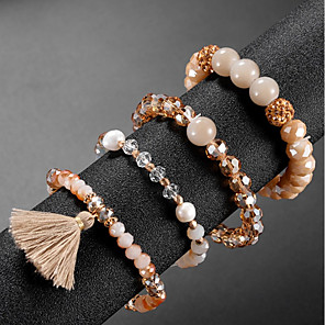 cheap Necklaces-4pcs Women's Bead Bracelet Vintage Bracelet Earrings / Bracelet Layered Blessed Classic Tassel Vintage Cute Elegant Glass Bracelet Jewelry Champagne For Daily School Street Holiday Festival