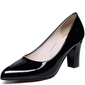 cheap Women's Heels-Women's Heels Chunky Heel Patent Leather Spring Black / Almond / Red / Daily