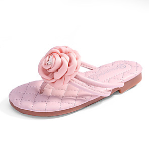 cheap Kids' Slippers-Girls' Comfort / Flower Girl Shoes Microfiber Slippers & Flip-Flops Toddler(9m-4ys) / Little Kids(4-7ys) / Big Kids(7years +) Flower Ivory / Light Pink Spring / Summer / Rubber
