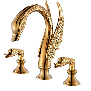 cheap Bathroom Sink Faucets-Bathroom Sink Faucet - Widespread Gold Widespread Two Handles Three HolesBath Taps