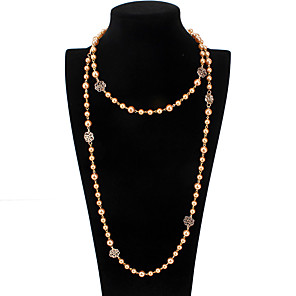 cheap Necklaces-Women's Necklace Long Necklace Rosary Chain Plastic Coffee 46 cm Necklace Jewelry 1pc For Daily Holiday School Street Festival / Pearl Necklace