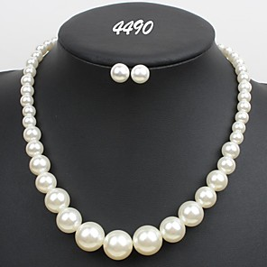 cheap Jewelry Sets-Women's Necklace Pearl Necklace Geometrical U Shape Simple Sweet Fashion Cute Elegant Imitation Pearl Earrings Jewelry White For Wedding Party Daily Club Festival 1 set