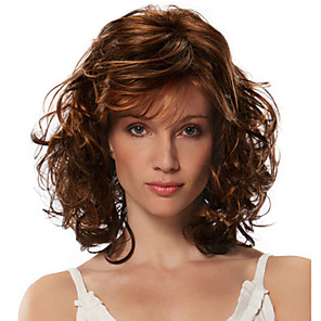 cheap Synthetic Trendy Wigs-Synthetic Wig Bangs Curly Free Part Wig Medium Length Brown / Burgundy Synthetic Hair 18 inch Women's Fashionable Design Women Synthetic Brown