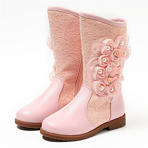 cheap Kids' Boots-Girls' Boots Fashion Boots / Flower Girl Shoes Leather Toddler(9m-4ys) / Little Kids(4-7ys) / Big Kids(7years +) Pearl / Flower White / Light Pink Winter / Fall & Winter / Knee High Boots / Wedding