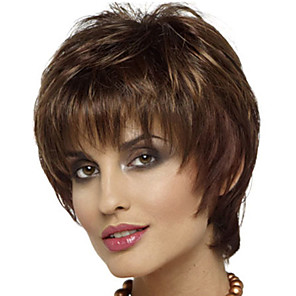 cheap Synthetic Trendy Wigs-Synthetic Wig Bangs Curly Free Part Wig Short Brown / Burgundy Synthetic Hair 12 inch Women's Fashionable Design Women Synthetic Brown