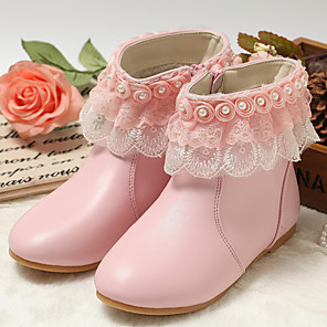 cheap Kids' Boots-Girls' Fashion Boots / Flower Girl Shoes / Children's Day Leather Boots Toddler(9m-4ys) / Little Kids(4-7ys) Zipper White / Light Pink Winter / Fall & Winter / Mid-Calf Boots