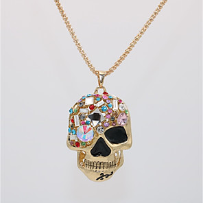 cheap Pendant Necklaces-Men's Women's Pendant Necklace Statement Necklace Classic Skull Statement Unique Design Punk Rock Gold Plated Glass Chrome Gold 70 cm Necklace Jewelry 1pc For Halloween Carnival Masquerade Holiday Bar