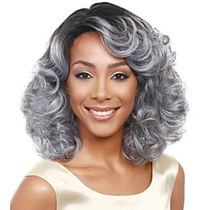 cheap Synthetic Trendy Wigs-chignons Bangs Curly Loose Curl Side Part Wig Medium Length Grey Synthetic Hair 18 inch Women's Fashionable Design Classic Women Dark Gray