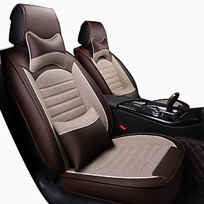 cheap Car Seat Covers-Car Seat Covers Headrest & Waist Cushion Kits Beige / Coffee / Blue Artificial Leather / synthetic fibre / Polyester Fabric Business / Common For universal All years General Motors