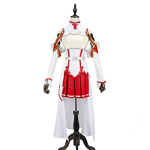 cheap Anime Costumes-Inspired by SAO Alicization Yuuki Asuna Anime Cosplay Costumes Japanese Cosplay Suits Patchwork Sleeveless Top Skirt Sleeves For Men's Women's / Armlet / Waist Accessory / Legguards / Breastplate