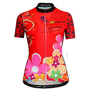 cheap Cycling Jerseys-Malciklo Women's Short Sleeve Cycling Jersey Red Black Floral Botanical Bike Jersey Top Mountain Bike MTB Road Bike Cycling Breathable Quick Dry Anatomic Design Sports Clothing Apparel / Race Fit