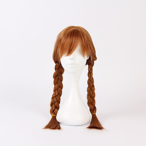 cheap Movie & TV Theme Costumes-Princess Anna Cosplay Costume Cosplay Wigs Flower Girl Dress Girls' Movie Cosplay A-Line Slip Cosplay Halloween Brown Wig Christmas Halloween Carnival Silk / Cotton Blend