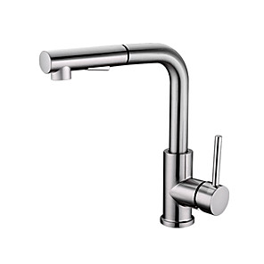cheap Bathroom Sink Faucets-Kitchen faucet - Single Handle One Hole Nickel Brushed Pull-out / Pull-down Other Contemporary Kitchen Taps