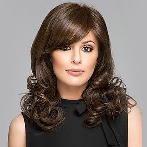 cheap Synthetic Trendy Wigs-Synthetic Wig Bangs Curly Side Part Wig Long Brown / Burgundy Synthetic Hair 16 inch Women's Fashionable Design Women Synthetic Brown