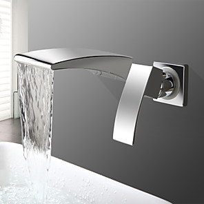 cheap Bathroom Sink Faucets-Bathroom Sink Faucet - Waterfall Chrome Wall Mounted Two Holes / Single Handle Two HolesBath Taps