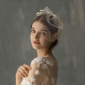 cheap Wedding Veils-One-tier Stylish Wedding Veil Blusher Veils with Ribbon Bow Tulle / Drop Veil