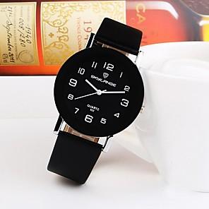 cheap Quartz Watches-Women's Quartz Watches Quartz Minimalist Casual Watch PU Leather Black / White / Brown Analog - Black+White White Black One Year Battery Life / Stainless Steel