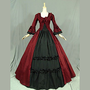 cheap Lolita Dresses-Vintage Princess Lolita Rococo Dress Cosplay Costume Female Japanese Cosplay Costumes Black / Red / Pink Patchwork Petal Sleeve Long Sleeve Maxi Long Length / Victorian