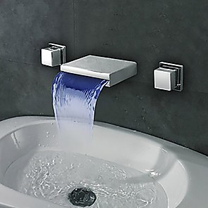 cheap Bathroom Sink Faucets-Bathroom Sink Faucet - Waterfall / LED Chrome Wall Mounted Two Handles Three HolesBath Taps