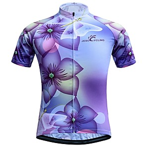 cheap Cycling Jerseys-JESOCYCLING Women's Short Sleeve Cycling Jersey Violet Floral Botanical Bike Jersey Top Mountain Bike MTB Road Bike Cycling Breathable Quick Dry Sweat-wicking Sports Clothing Apparel / Stretchy