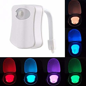 cheap Décor & Night Lights-1pc LED Color-changing AAA Batteries Powered  Motion Activated Toilet Night Light Bathroom Washroom 5V