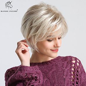 cheap Synthetic Trendy Wigs-Synthetic Wig Straight Natural Straight Pixie Cut With Bangs Wig Blonde Short Light golden Synthetic Hair 24 inch Women's Odor Free Fashionable Design Synthetic Blonde BLONDE UNICORN