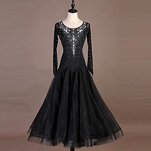 cheap Ballroom Dancewear-Ballroom Dance Dress Crystals / Rhinestones Women's Training Long Sleeve High Nylon Organza Tulle