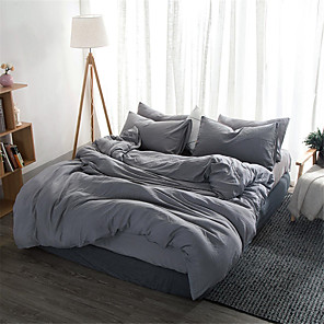 cheap Solid Duvet Covers-Duvet Cover Sets Solid Colored / Contemporary Polyster Yarn Dyed 4 PieceBedding Sets